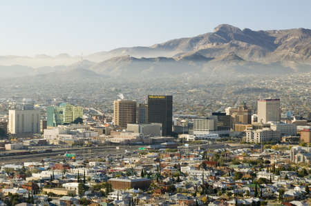 toward: Panoramic view of skyline and downtown El Paso Texas looking toward Juarez, Mexico