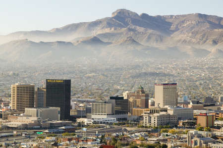 smog: Panoramic view of skyline and downtown El Paso Texas looking toward Juarez, Mexico