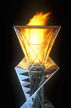olympic symbol: Olympic torch at night during the 2002 Winter Olympics, Salt Lake City, UT