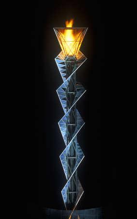 Olympische fakkel 's nachts tijdens de Olympische Winterspelen van 2002, Salt Lake City, UT Stockfoto - 20491749