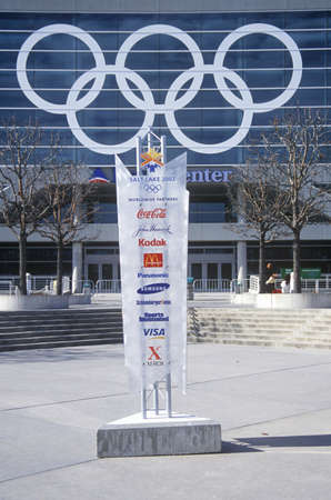 olympic rings: Olympic rings on side of Delta Center during 2002 Winter Olympics, Salt Lake City, UT Editorial