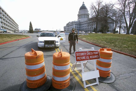 salt lake city: Roadblock security during 2002 Winter Olympics, Salt Lake City, UT Editorial
