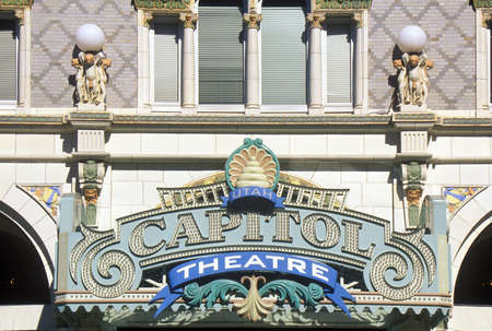 ut: Close up of the sign outside of Capitol Theatre, Salt Lake City, UT Editorial
