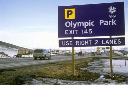 salt lake city: Se�al de tr�fico Ol�mpico durante los Juegos Ol�mpicos de Invierno de 2002, Salt Lake City, UT Editorial
