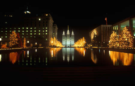 salt lake city: Historic Temple and Square in Salt Lake City at night, during 2002 Winter Olympics, UT Editorial