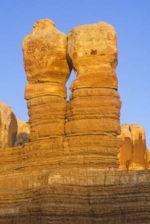 ut: Sandstone rock formation known as Twin Sisters in Indian Rock, UT