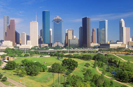 Houston, TX skyline in the afternoon with Memorial Park in foreground