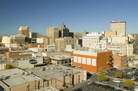 Panoramic view of skyline and downtown El Paso Texas, border town to Juarez, Mexico