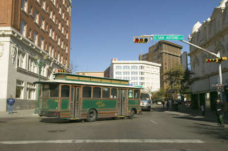 Shuttle bus in downtown El Paso Texas on San Antonio Street, in the historic Plaza district