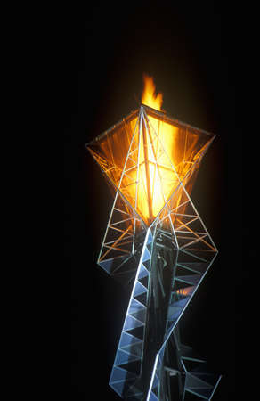 salt lake city: Olympic torch at night during the 2002 Winter Olympics, Salt Lake City, UT