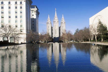salt lake city: Downtown Salt Lake city with Temple Square, home of Mormon Tabernacle Choir during 2002 Winter Olympics, UT