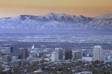 Skyline of Salt Lake City, UT with Snow capped Wasatch Mountains in background