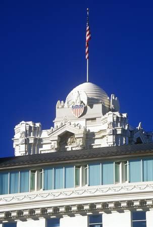 salt lake city: Vista de la parte superior de la Manzana del Templo con la bandera americana, Salt Lake City, UT Editorial