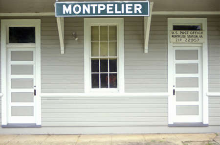 dominion: Close up of front of Post Office in Montpelier, VA Editorial