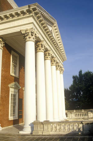 va: Columns on building at University of Virginia inspired by Thomas Jefferson, Charlottesville, VA Editorial