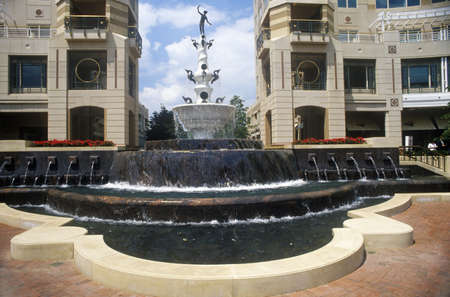 dominion: Fountain at Reston town center, Potomac region, VA Editorial