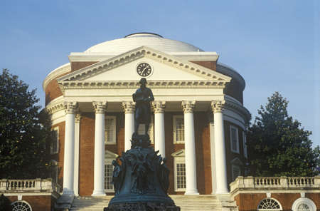 va: Exterior of University of Virginia with statue of Thomas Jefferson, Charlottesville, VA Editorial