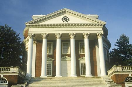 college building: Columns on building at University of Virginia inspired by Thomas Jefferson, Charlottesville, VA Editorial