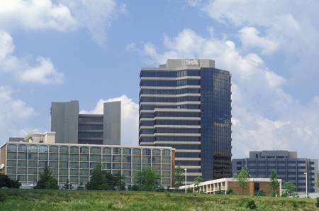 dominion: Tyson Corner skyline in Falls Church, Fairfax County, VA Editorial