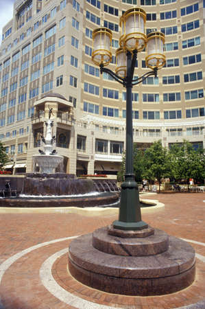 dominion: Streetlights in front of Reston, VA town center, a planned community