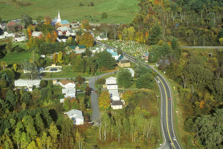 Aerial view of Hyde Park, VT on Scenic Route 100 in Autumn