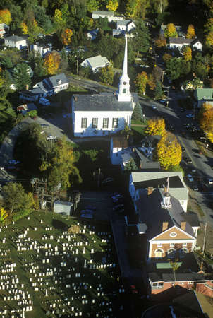 Aerial view of Stowe, VT in Autumn on Scenic Route 100