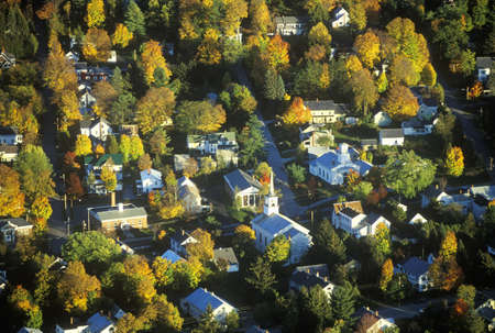 Aerial view of Morrisville, VT in Autumn on Scenic Route 100 at sunset