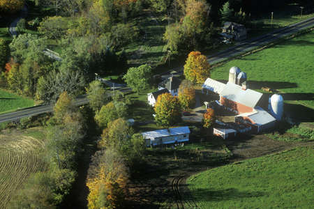 Aerial view of farms new Stowe on Scenic Route 100, VT