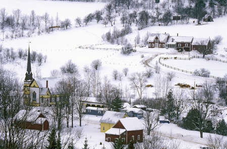 East Orange, VT covered in snow during winter