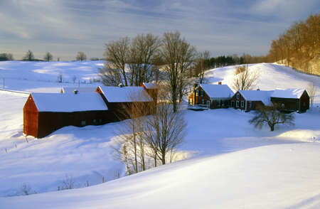 S. Woodstock farm at sunrise in winter snow, VT