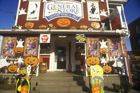 Country Store in Williamstown, VT covered with Halloween decorations