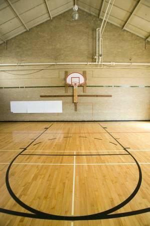 """pista baloncesto: Cancha de baloncesto de secundaria y """"la cabeza de la llave"""" en Webster Groves High School en Webster Groves, Missouri"""