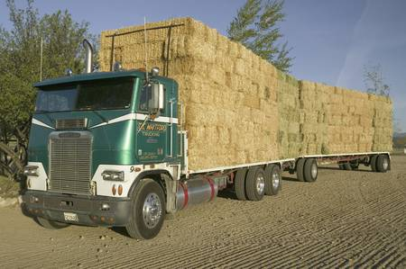 Parked truck loaded with neatly stacked hay bales near Cuyama, California Editorial