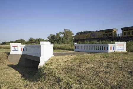 restored: Restored bridge on Lincoln Highway, US 30, Americas first transcontinental highway, Nebraska Editorial