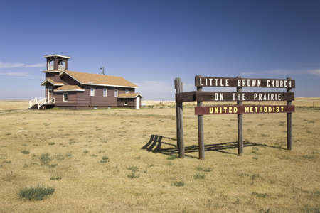 settler: Little Brown Church on the Prairie, United Methodist, US 34, Hayes, South Dakota Editorial