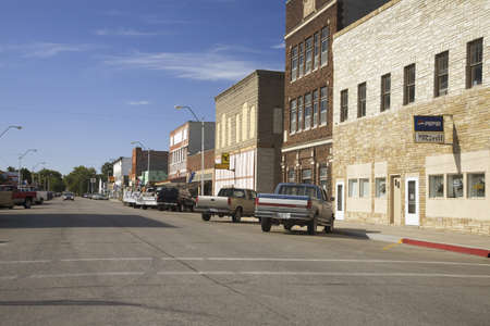 Main street with storefronts in Crawford Nebraska, Northwestern portion of state