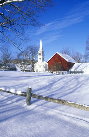 winter road: Church in Peacham, VT in snow in winter