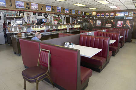 bar interior: Famous diner, Hokes Caf� on old Lincoln Highway, US 30, Ogallala, Nebraska
