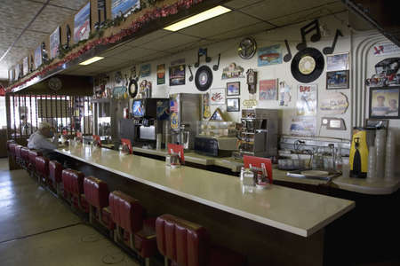 diner: Long view of countertop at Hokes Caf� on old Lincoln Highway, US 30, Ogallala, Nebraska