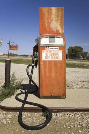 Old gas pump on the Lincoln Highway, US 30, Nebraska Byway, Americas first transcontinental highway, Nebraska