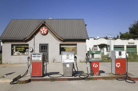 old english: Old gas station on Lincoln Highway, US 30, East of North Platte, Nebraska Editorial