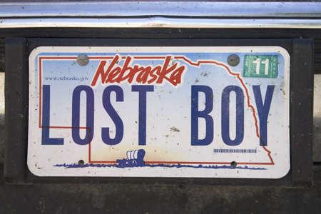 plaque immatriculation: Plaque d'immatriculation personnalis�e Lost Boy, Nebraska