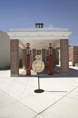 Restored old gas station and Spruce Street visitors center along the Lincoln Highway, US 30, Ogallala, Nebraska