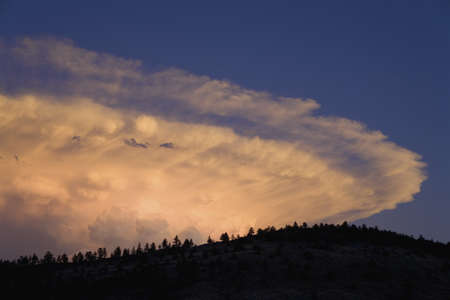 lenticular cloud: Western sunset and spectacular clouds, Hot Springs, South Dakota