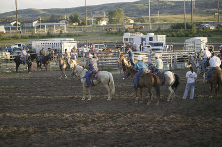 sioux: Cowboys at PRCA Rodeo at Lower Brule, Lyman County, Lower Brule Sioux Tribal Reservation, South Dakota, 58 miles Southeast of Pierre near Missouri River, August 10, 2007 Editorial