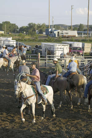 sioux: Cowboys on horses with rope at PRCA Rodeo at Lower Brule, Lyman County, Lower Brule Sioux Tribal Reservation, South Dakota, 58 miles Southeast of Pierre near Missouri River, August 10, 2007 Editorial