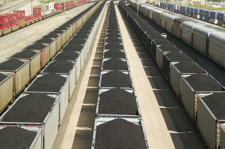Elevated view of freight cars with coal at Union Pacifics Bailey Railroad Yards, North Platte, Nebraska, the worlds largest classification railroad yard