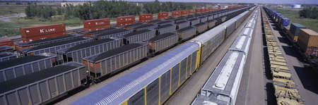 Panoramic view of freight cars at Union Pacifics Bailey Railroad Yards, North Platte, Nebraska, the worlds largest classification railroad yard