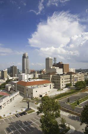 omaha: Aerial view of Omaha Nebraska skyline on summer day Editorial
