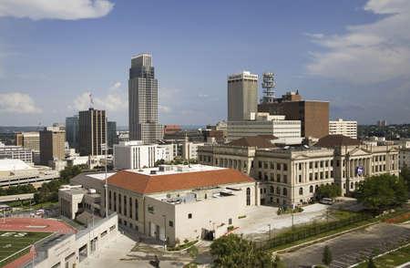Aerial view of Omaha Nebraska skyline on summer day Publikacyjne